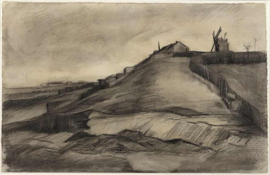 This image released by Van Vlissingen Art Foundation and the Van Gogh Museum shows a drawing by Vincent van Gogh titled The Hill of Montmartre with Stone Quarry, dating to March 1886.