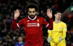 Salah doesn't celebrate his goal.