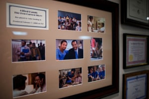 There are framed stills from Gifted Hands: The Ben carson Story, a 2009 TV movie starring Cuba Gooding Jr