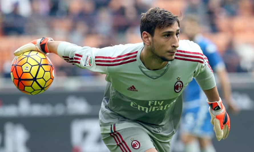Gianluigi Donnarumma making his debut for Milan at just 16 years and eight months.