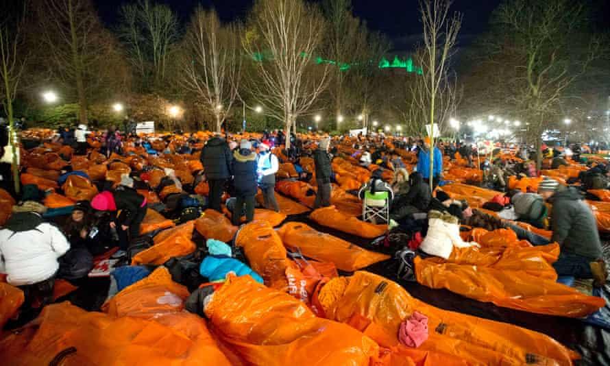 The Sleep in the Park fundraising event in Edinburgh, December 2017.