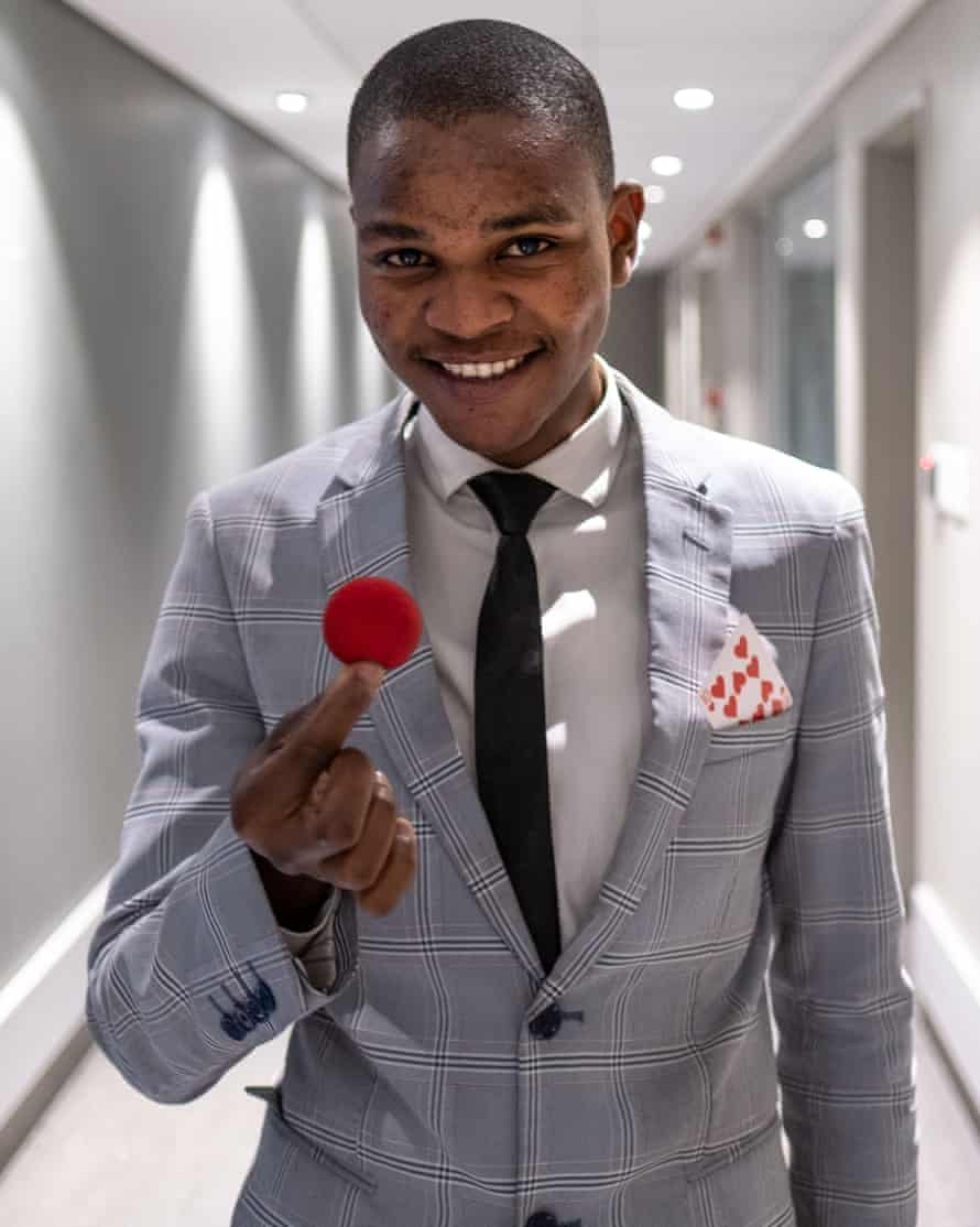 Illusionist Khanya Rubushe, a College of Magic student, before a performance at the Artscape theatre centre.