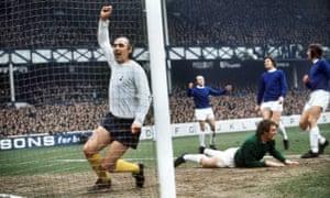 Alan Gilzean celebrates a goal for Spurs against Everton at Goodison Park in the 1971-72 season