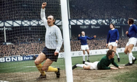 Alan Gilzean celebrates a goal for Spurs against Everton at Goodison Park in the 1971-72 season