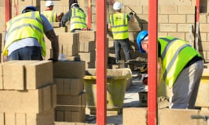 Construction workers on a housebuilding site