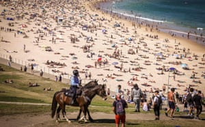 Sydney, AustraliaPolice on horses patrol as people visit Bondi beach in Sydney.