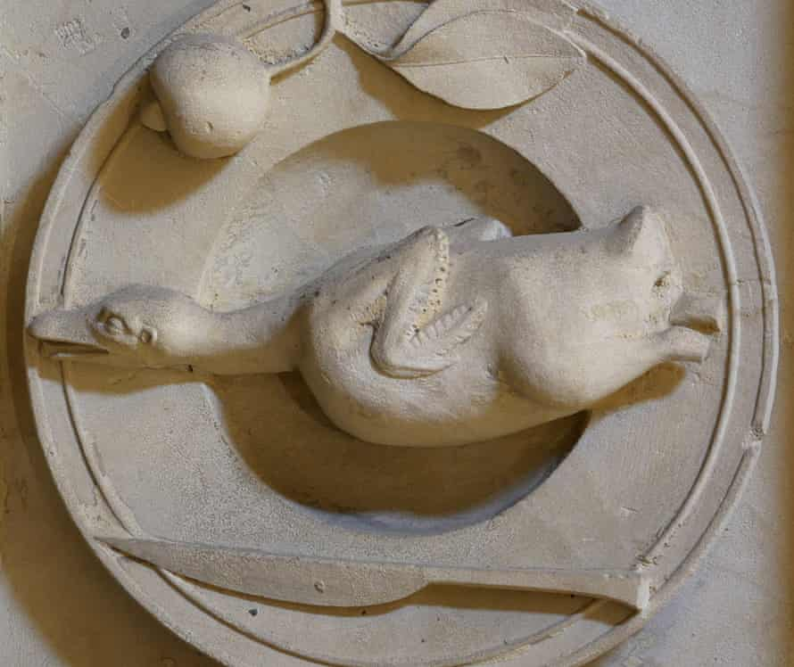 One of the 68 carvings, this one depicting a duck with a lemon