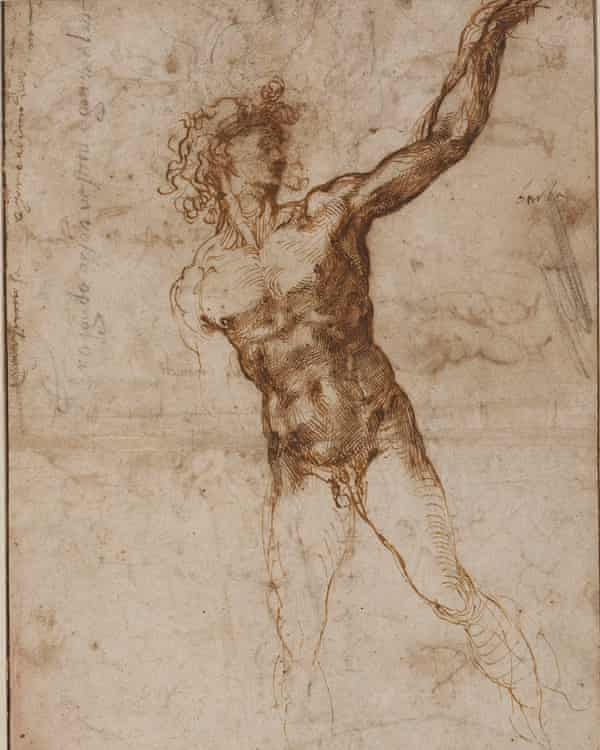 Detail of Michelangelo's study of a male nude.