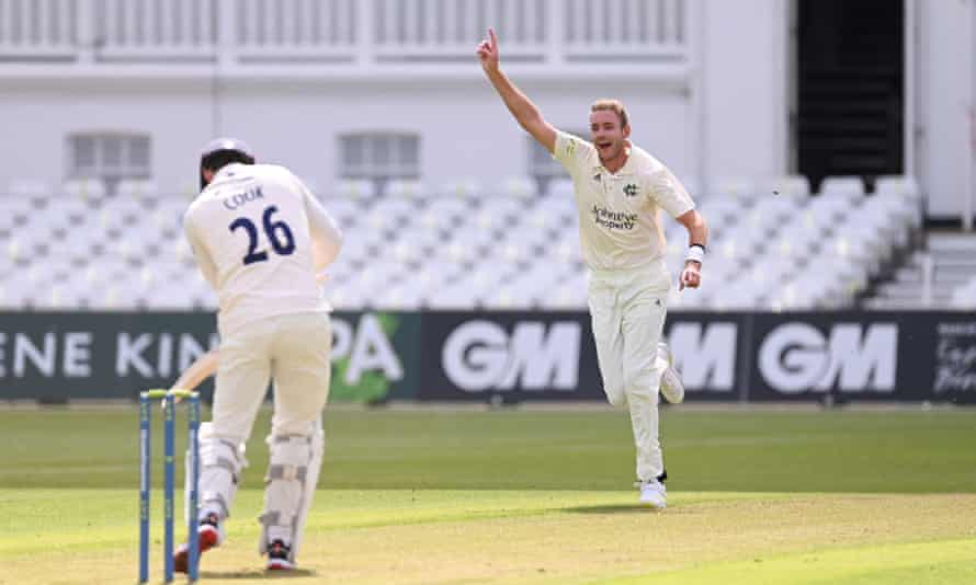 Stuart Broad claims the wicket of former England teammate Alastair Cook.