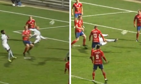 Defender scores from double scissor kick after ball rebounds off crossbar in Danish cup – video