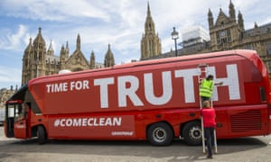 Greenpeace's rebranded leave campaign bus, saying TIME FOR TRUTH