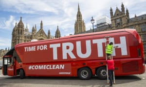 A Vote Leave battle bus, rebranded outside parliament in London by Greenpeace last month.