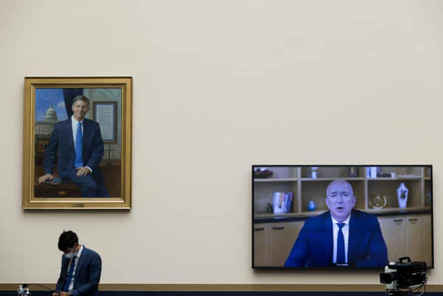 Amazon CEO Jeff Bezos testifies via video conference during the House Judiciary Committee's investigation.