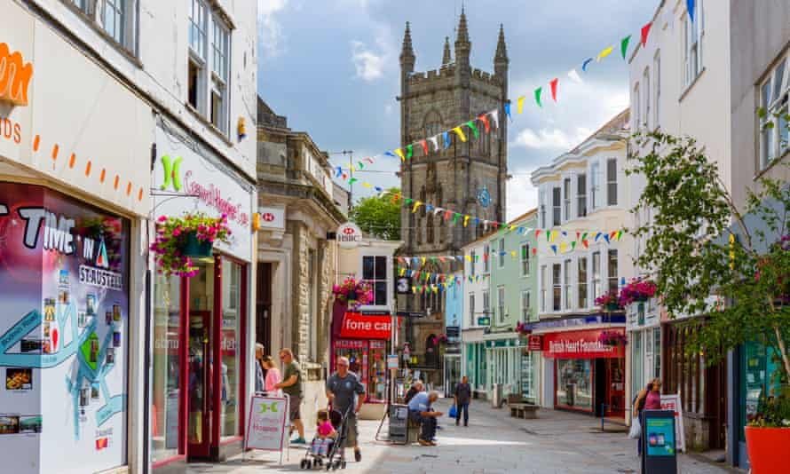 A shopping street in St Austell.