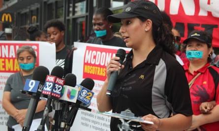 Adriana Alvarez speaks at McDonald's rally in Chicago.
