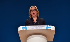 Amber Rudd addressing the Conservative conference