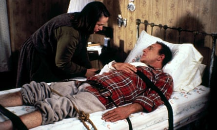 Kathy Bates and James Caan play Annie Wilkes and Paul Sheldon in the 1990 film adaptation of Stephen King's Misery.