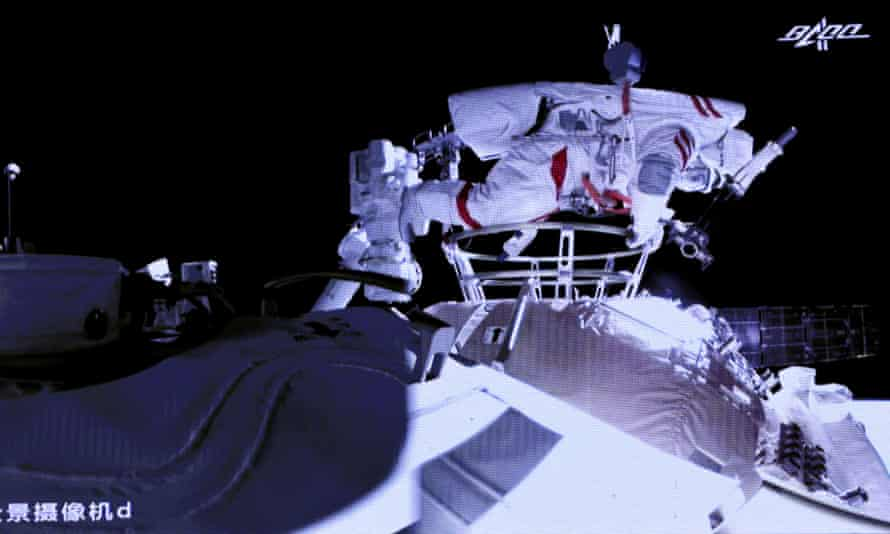 Liu Boming leaving China's new Tiangong space station earlier this month to go on the second space walk in the country's history.