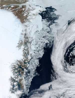 Ice swirling off of Greenland