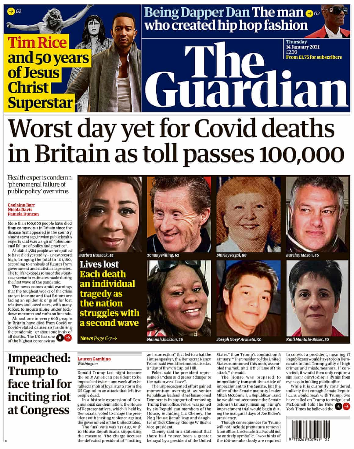 Guardian front page, Thursday 14 January 2021