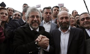 Can Dündar and Erdem Gül before the trial began. Turkish president Recep Tayyip Erdoğan personally filed the lawsuit against them.