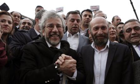 Can Dündar and Erdem Gül before the trial began. Turkish president Recep Tayyip Erdoğan personally filed the lawsuit against them.