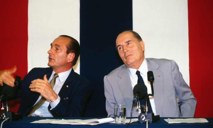 Jacques Chirac and François Mitterrand attending a European summit in The Hague.