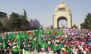 An International Women''s Day demonstration take place at the Monument to the Revolution in Mexico City, Mexico. EPA/MARIO GUZMAN