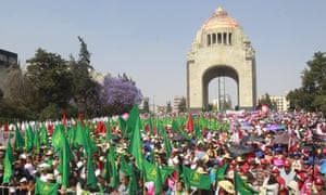 International Women's Strike on Women's Day take place at the Monument to the Revolution in Mexico City, Mexico