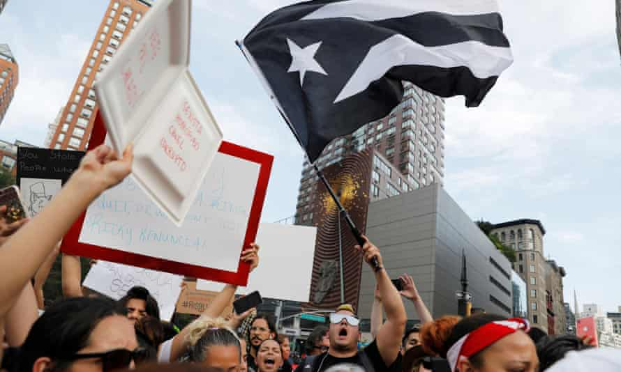 Protesters gather in New York's Union Square to call for the Puerto Rico governor, Ricardo Rosselló, to resign, 17 July 2019.