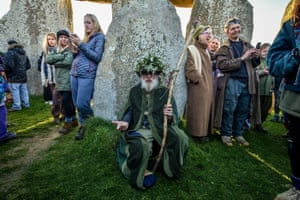 A druid rests at Stonehenge