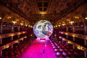 Blackpool, England An illuminated art installation entitled Gaia, by Luke Jerram, is installed in the Tower ballroom as part of the Lightpool festival of visual arts in Blackpool. The festival, which runs until 26 October, features a mix of live performance and light-based art installations