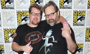 Justin Roiland, left, and Dan Harmon at Comic Con.