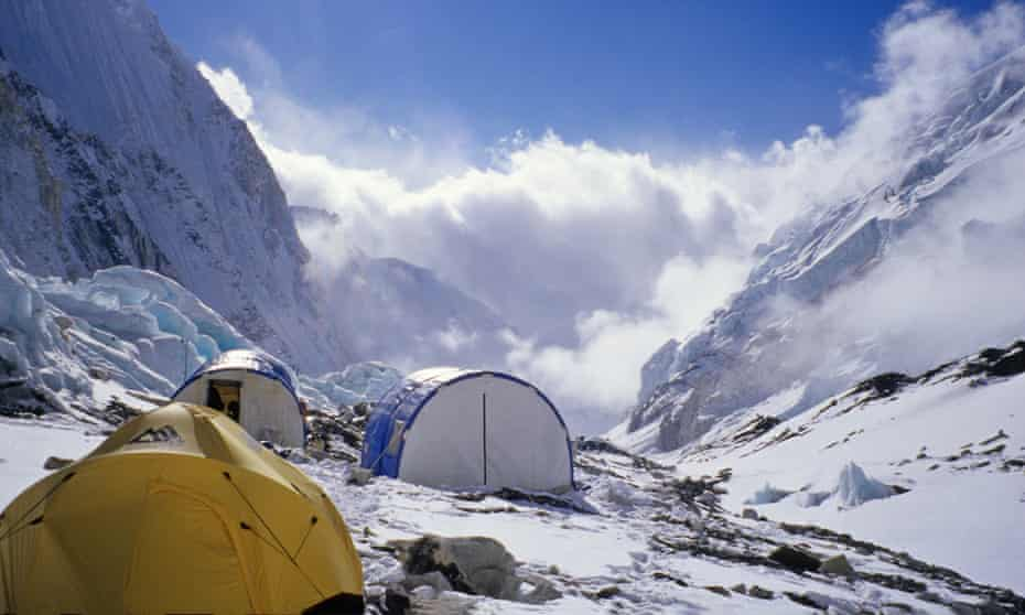 Tents at 6500m, in the Western Cwm, on Everest.