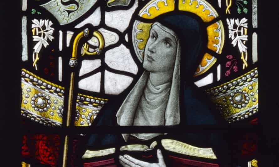 stained glass image of St Leoba in the Church of Saint Michael and All Angels in Beetham, Cumbria.
