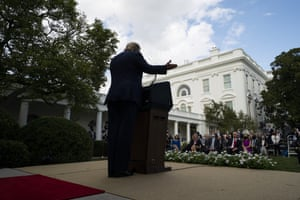 Donald Trump speaks about coronavirus testing strategy, in the Rose Garden of the White House on Monday.