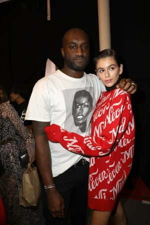 Virgil Abloh and Kaia Gerber pose backstage at the Off/White show at Paris Fashion Week.