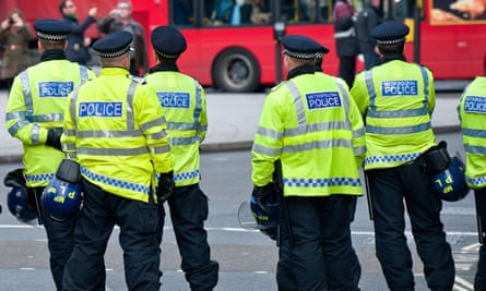 Metropolitan Police officers on duty in central London