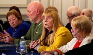 Margaret Aspinall speaks to the press