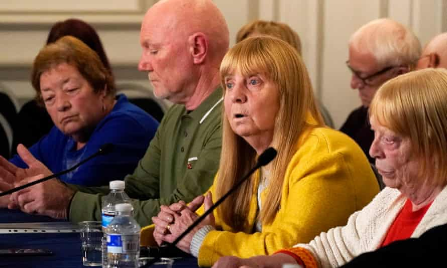 Margaret Aspinall (c) alongside other relatives of Hillsborough victims on Thursday.