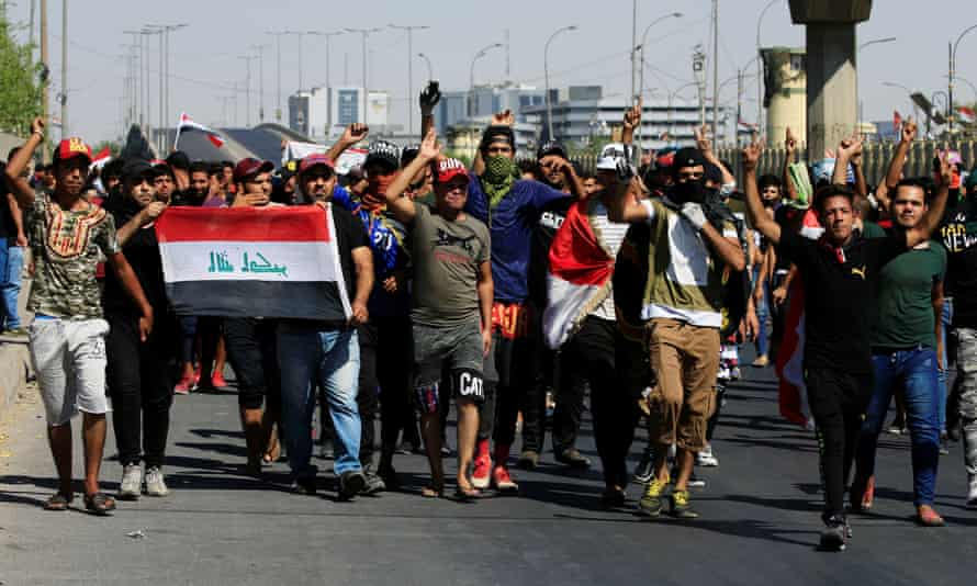 Protesters in Baghdad.