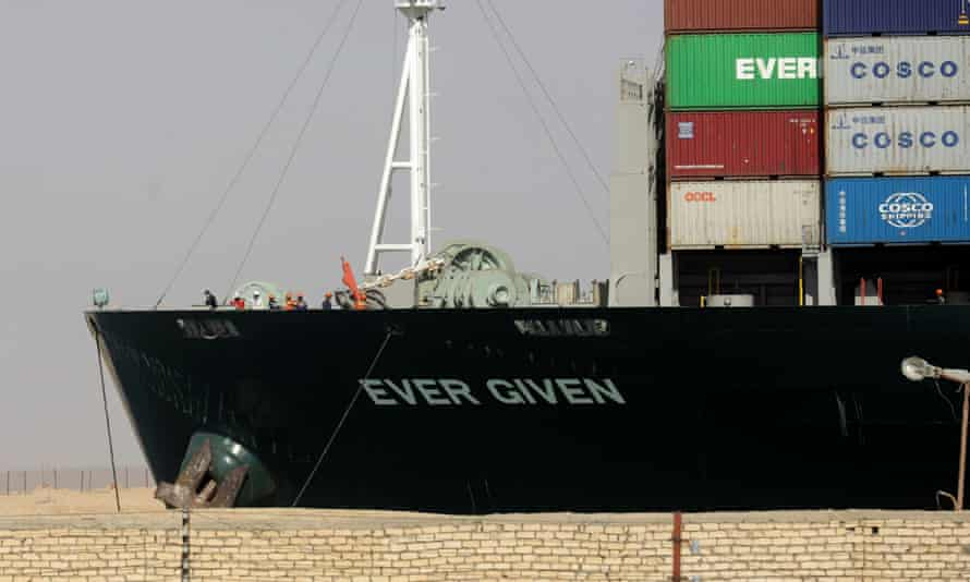Ever Given, one of the world's largest container ships, is seen after it was fully floated in the Suez Canal, Egypt, 29 March 2021.