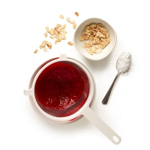 Puree most of the raspberries – save the rest to finish – then pass through a fine sieve to remove the seeds.