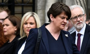 The DUP leader Arlene Foster, Sinn Fein's Mary Lou McDonald, Michelle O'Neill, and Labour leader Jeremy Corbyn.