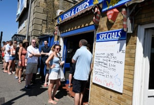 Queueing for fish and chips in Margate.
