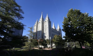 The Mormon temple in Salt Lake City. Utah becomes the 19th state to outlaw conversion therapy for children.