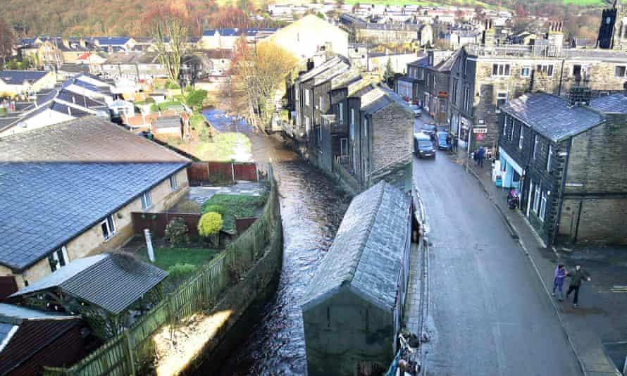 The river Calder returned to its normal level on Sunday after flooding Mytholmroyd