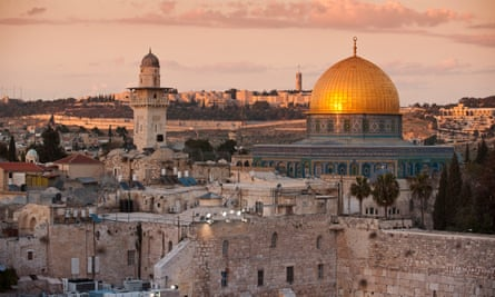 The Dome of the Rock and the Western Wall in Jerusalem.