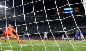 Bayern Munich's Thomas Müller (right) shot is defletcted past Barcelona's keeper Marc-Andre ter Stegen to give the visitors the lead.