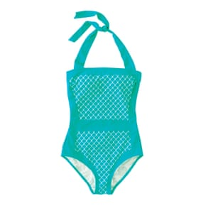 turquoise tile print swimsuit with tie neck